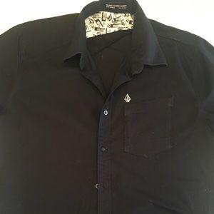 Volcom Men's Button-Down Black Shirt, Small